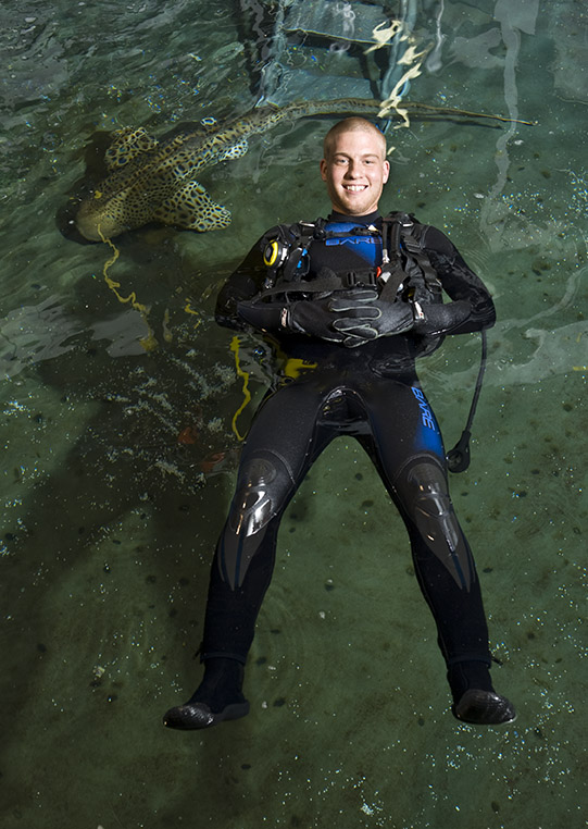 John Nonamaucher has an internship at Newport Aquarium.