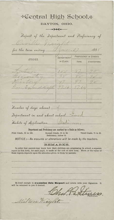 Orville Wright report card, 1888
