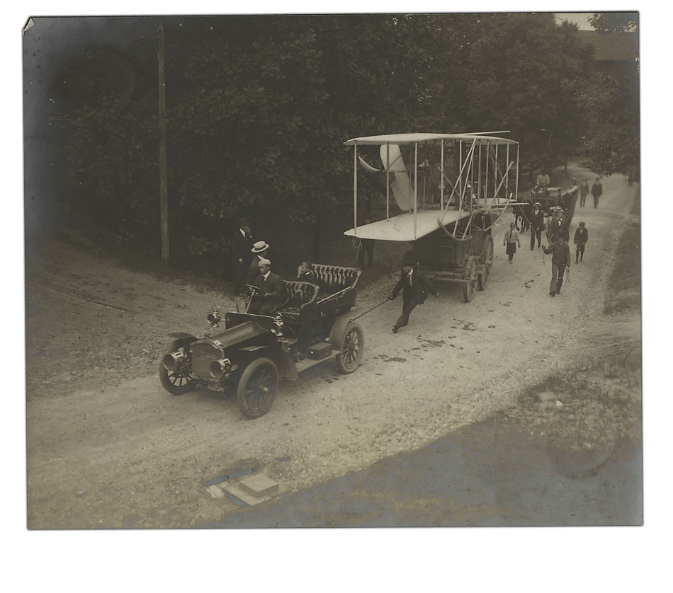 Wright Flyer en route to Hunaudieres Race Course, Le Mans, France, 1908