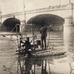 Wilbur and Orville Wright conducting hydroplane experiments on the Miami River in Dayton in March 1907. The Wrights experimented with hydroplanes and floats.