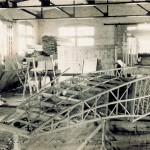 Fuselage of the Wright Model G Aeroboat under construction in the Wright Company factory.