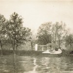 The Wright Model G Aeroboat in flight just above the Miami River.
