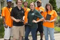(From left) student researchers Devin Bolden, Philip Ferrari, Tyler Feaver, Elyse Giardullo, Skylar Woods, and Erika Lemons