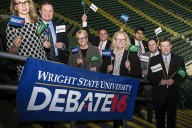 Members of the Wright State University family—students, faculty, former faculty, and staff— gear up for the presidential debate at the Wright State Nutter Center