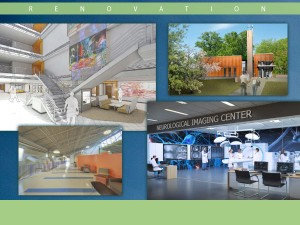 Graphic showing artist renderings of the Russ atrium refurbishment, the new NEC building and the new Campus Ministry building