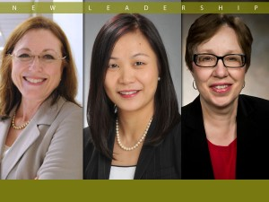 Graphic of Deans Marjorie Bowman, Joanne Li and Linda Caron