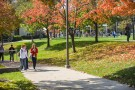 Wright State students walk across the university's Dayton Campus.