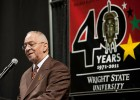 Rev. Dr. Jeremiah Wright, pastor emeritus of Chicago's Trinity United Church of Christ, spoke January 19 at the Wright State Nutter Center as part of the celebration of the 40th anniversary of the Bolinga Black Cultural Resources Center.