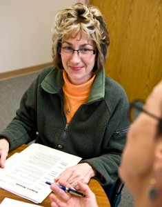Bridget Kleismit talks with Debra Wilburn, assistant director in Wright State University's Career Services office during her exit interview for her internship with the Internal Revenue Service.