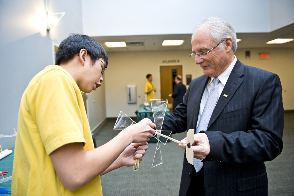 President David Hopkins visited with students from the Centerville high school Science Olympiad team soon after he announced Wright State would host the National Science Olympiad Tournament in 2013.