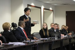 Japanese Ambassador to the United Nations Kazuo Kodama stands and addresses the Wright State MOdel UN students with closing remarks after meeting with them for more than two hours.