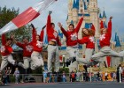 Photo of student interns leaping in front of Cinderella's Castle at Walt Disney World.