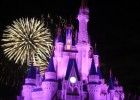 Photo of Cinderella's Castle lit purple with yellow fireworks.