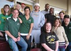 Photo of ten Wright State students at a Dayton Dragons game in the DP&L Foundation suite.