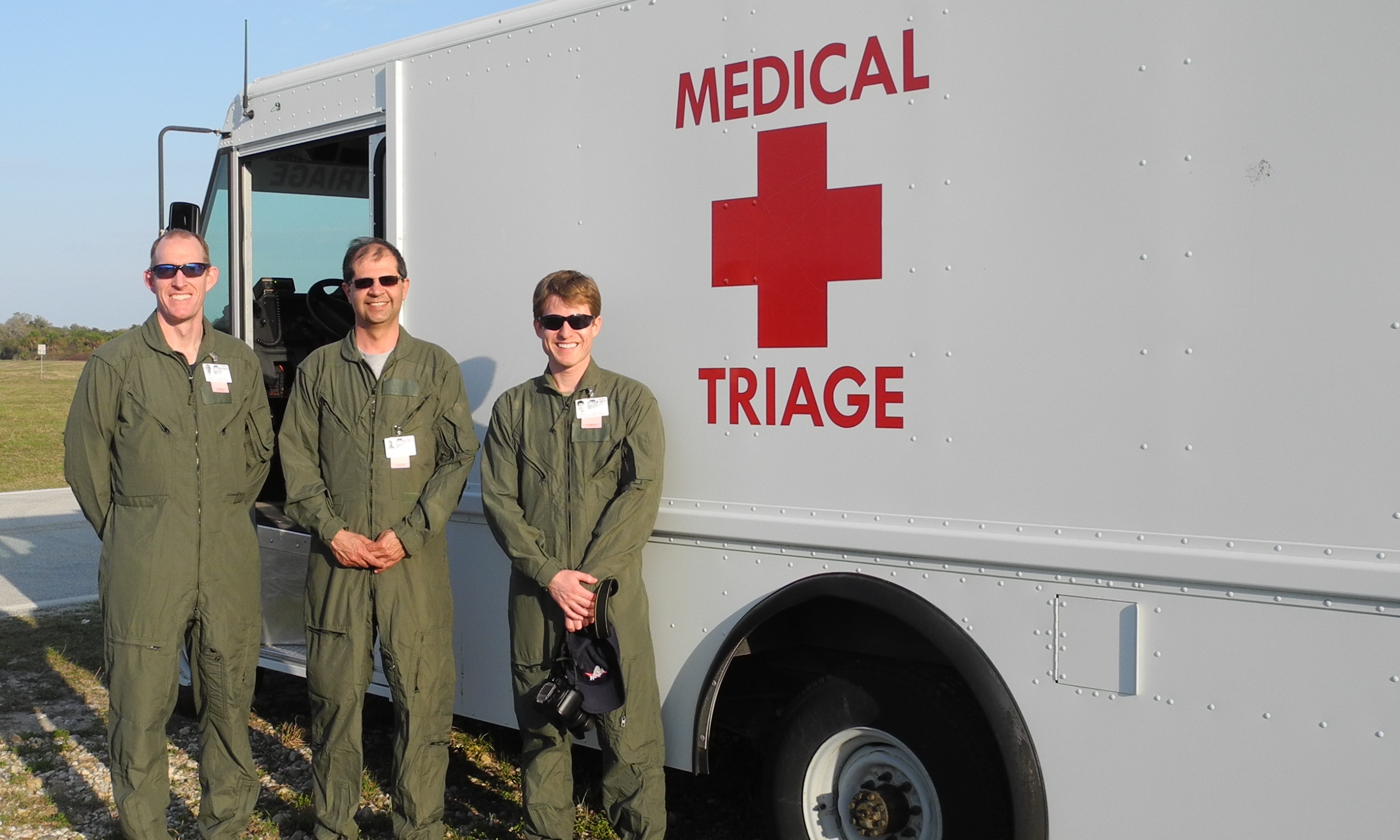 Photo of Wright State University aerospace medicine residents at Kennedy Space Center participating in the medical launch support for the STS-133 Space Shuttle mission.