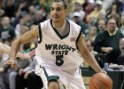 Photo of DaShaun Wood playing during Wright State's 77-65 victory over Butler at the Nutter Center in Dayton, Ohio in 2007.