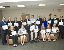 Photo of the Wright State University Model United Nations Team after they were presented Presidential Commendations for Excellence in Co-Curricular Activities by university president David R. Hopkins.