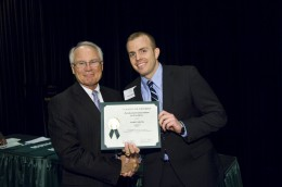Photo of Wright State President David R. Hopkins and Aaron Shank.