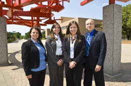Photo of From left to right: students Brea Sheeks, Jayme Overfield, Kate Lash and professor of accounting and team advisor Dr. David Bukovinsky.