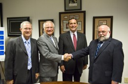 Photo of Jack Bantle, VP Research and Graduate Studies; President David R. Hopkins, Wright State University; Chancellor Jim Petro, Ohio Board of Regents; Larry Dosser, President and CEO of the Mound Laser and Photonics Center