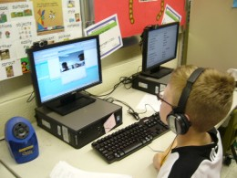 Photo of a student from Andrix's class video chatting with a student in New York.