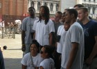 Photo of the Wright State men's basketball team posing for a picture in Venice, Italy.