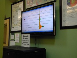 Photo of the Wright State Lake Campus's Seismic Station's reading of the Virginia earthquake.
