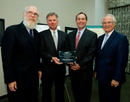 Photo of COLA Dean Charles Taylor, CELIA Dir. Hank Dahlman, Chancellor of the Board of Regents Jim Petro and President David R. Hopkins, Wright State University.