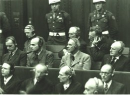 Photo of men at the Nuremberg trials.
