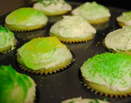 Photo of green and yellow cupcakes