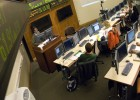 Photo of a class in the Trading Room at Wright State's Raj Soin College of Business.