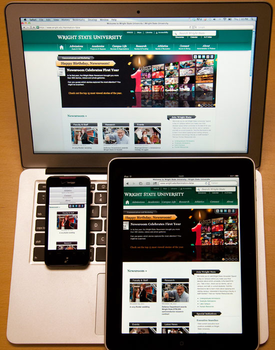 Photo of the Wright State homepage on three different devices