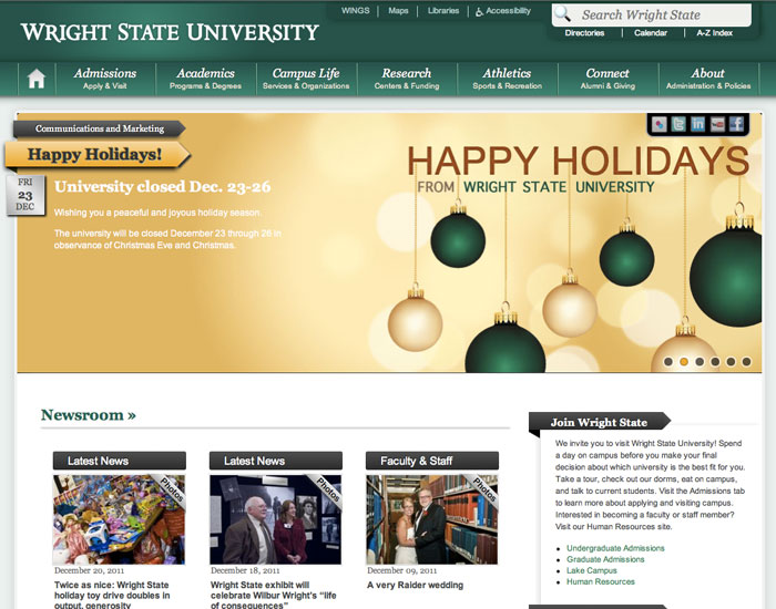 Screenshot of the new homepage