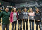 Photo of women's basketball coach Mike Bradbury and players Courtney Boyd, Kim Demmings, Kirsten Gliesmann, Breanna Stucke, Mylan Woods