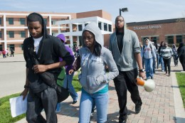 Photo of students marching to Meijer