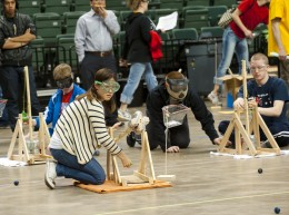 Photo of competitors at Trebuchet contest