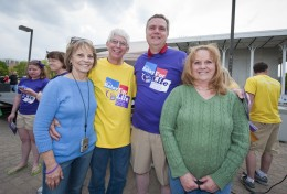 (L-R) Photo of Gay and George Frey (Wright State employee) and Bob Frey (retired WSU employee)and wife; Barb Frey at Relay for Life 2012.