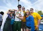 Photo of Wright State football players and cheerleaders hamming it up at April Craze.