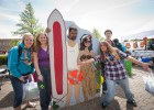 Photo of students posing with beach cutouts.
