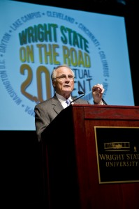 Photo of Wright State President David R. Hopkins at Wright State on the Road 2.0.