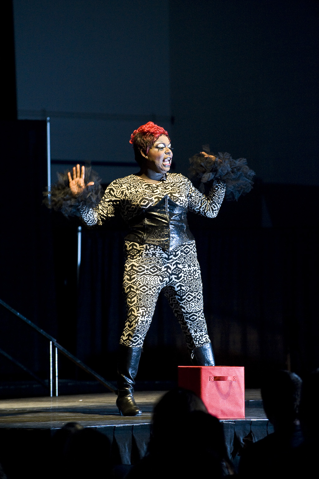 Photo of a performer from the Rainbow Alliances annual Drag Revue.