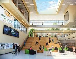 Artist's rendering of the lobby of the planned Neuroscience and Engineering Collaboration building