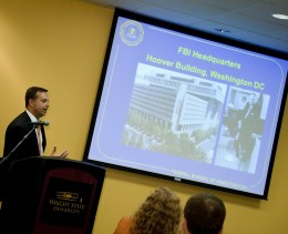Special Agent Richard Maier gives his presentation.