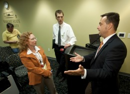 Photo of Special Agent Richard Maier with Wright State University safety officers.