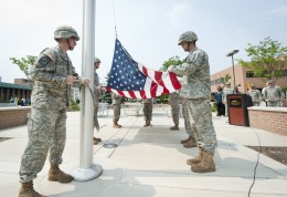 Wright State Army ROTC cadets raise the flag in observane of Memorial Day.