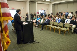Photo of U.S. Senator from Ohio Sherrod Brown speaking at Wright State University.