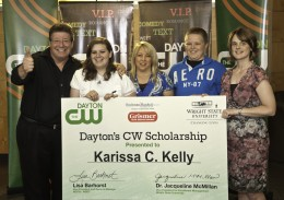 Photo of the 2012 Dayton's CW Scholarship Winner Karissa Kelly and her family.