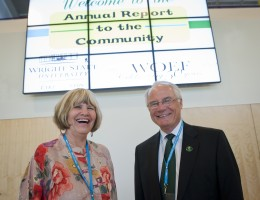 Photo of Lake Campus Dean Bonnie Mathies and Wright State University President David R. Hopkins during their annual report to the community at the Lake Campus on Wednesday, June 20.