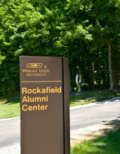 Photo of the sign for Rockafield Alumni Center