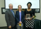 Amour Inman (right) received the Undergraduate Student Award. She is pictured with Wright State President David R. Hopkins and Marjorie McLellan, Ph.D., associate professor in Urban Affairs and Geography.